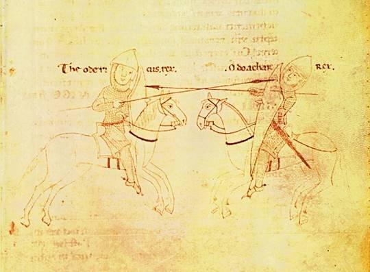 Odoacre e Teodorico Particolare del Codice Palatino Vaticano (XII secolo) conservato nella Biblioteca Apostolica
